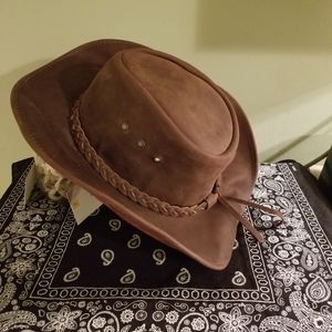 Accessories - Brown Leather Cowboy hat